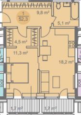 ЖК «Достояние», планировка 1-комнатной квартиры, 52.30 м²