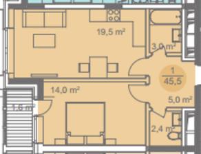 ЖК «Достояние», планировка 1-комнатной квартиры, 45.50 м²