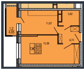 ЖК «Правда-4», планировка 1-комнатной квартиры, 40.61 м²