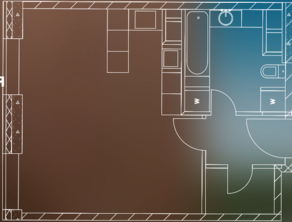 МФК «Пресня Сити», планировка 1-комнатной квартиры, 41.80 м²