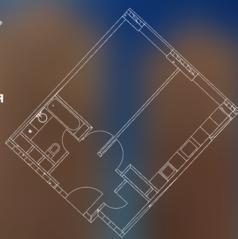 МФК «Пресня Сити», планировка 1-комнатной квартиры, 45.00 м²