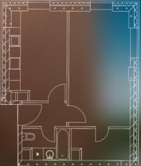 МФК «Пресня Сити», планировка 1-комнатной квартиры, 48.60 м²