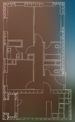 МФК «Пресня Сити», планировка 3-комнатной квартиры, 84.50 м²