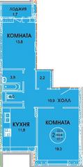 ЖК «Смирновка», планировка 2-комнатной квартиры, 65.10 м²