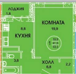 ЖК «Смирновка», планировка 1-комнатной квартиры, 43.30 м²