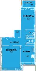 ЖК «Смирновка», планировка 2-комнатной квартиры, 63.40 м²