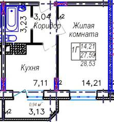 ЖК «Дружный», планировка 1-комнатной квартиры, 28.53 м²
