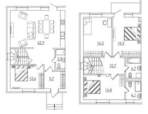КП «Марсель», планировка 5-комнатной квартиры, 135.00 м²