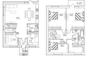 КП «Марсель», планировка 5-комнатной квартиры, 155.00 м²