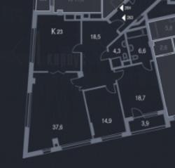 ЖК «Утёсов», планировка 2-комнатной квартиры, 100.40 м²