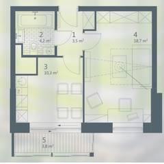 ЖК «Кварта», планировка 1-комнатной квартиры, 41.33 м²