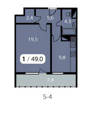 ЖК «Парк на Фабричной», планировка 1-комнатной квартиры, 49.00 м²