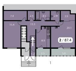 ЖК «Парк на Фабричной», планировка 2-комнатной квартиры, 87.40 м²