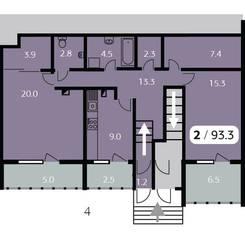 ЖК «Парк на Фабричной», планировка 2-комнатной квартиры, 93.30 м²