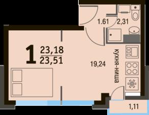 МЖК «Булатниково», планировка студии, 23.51 м²
