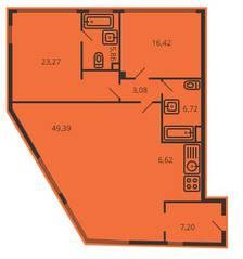 ЖК «Дом на улице Коминтерна», планировка 3-комнатной квартиры, 117.38 м²