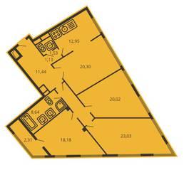 ЖК «Дом на улице Коминтерна», планировка 4-комнатной квартиры, 124.40 м²
