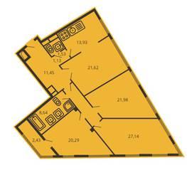 ЖК «Дом на улице Коминтерна», планировка 4-комнатной квартиры, 135.01 м²