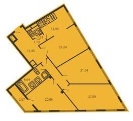 ЖК «Дом на улице Коминтерна», планировка 4-комнатной квартиры, 134.19 м²