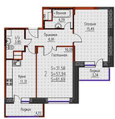 ЖК «Новые Клюшки», планировка 2-комнатной квартиры, 61.69 м²