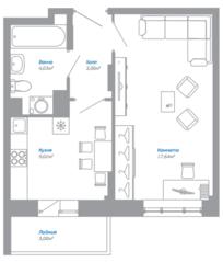 ЖК «Внуково 2016», планировка 1-комнатной квартиры, 35.24 м²