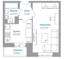 ЖК «Внуково 2016», планировка 1-комнатной квартиры, 35.81 м²