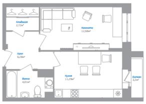 ЖК «Внуково 2016», планировка 1-комнатной квартиры, 36.84 м²