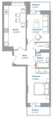 ЖК «Внуково 2016», планировка 2-комнатной квартиры, 54.90 м²