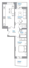 ЖК «Внуково 2016», планировка 2-комнатной квартиры, 55.56 м²