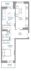 ЖК «Внуково 2016», планировка 2-комнатной квартиры, 57.39 м²