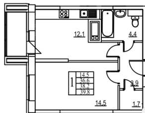 ЖК «Видный берег», планировка 1-комнатной квартиры, 40.00 м²