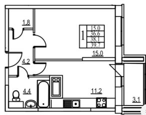 ЖК «Видный берег», планировка 1-комнатной квартиры, 41.70 м²