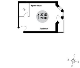 МЖК «Гармония» (Новая Купавна), планировка студии, 28.00 м²