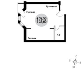 МЖК «Гармония» (Новая Купавна), планировка 1-комнатной квартиры, 33.00 м²