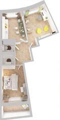 ЖК «Новое Жегалово», планировка 2-комнатной квартиры, 72.30 м²