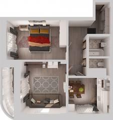 ЖК «Новое Жегалово», планировка 2-комнатной квартиры, 63.10 м²