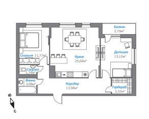 ЖК «Октябрьский 2016», планировка 2-комнатной квартиры, 74.58 м²