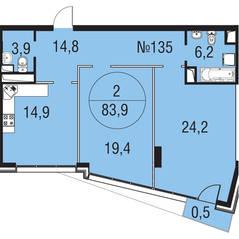 МЖК «Олимпийская Ривьера Новогорск», планировка 2-комнатной квартиры, 83.90 м²