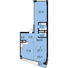 МЖК «Олимпийская Ривьера Новогорск», планировка 2-комнатной квартиры, 87.70 м²
