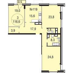 МЖК «Олимпийская Ривьера Новогорск», планировка 3-комнатной квартиры, 116.60 м²