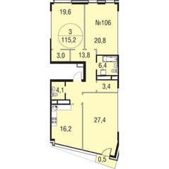 МЖК «Олимпийская Ривьера Новогорск», планировка 3-комнатной квартиры, 115.20 м²