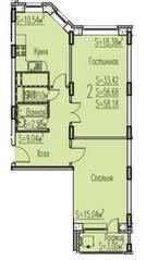 ЖК «Новые Клюшки», планировка 2-комнатной квартиры, 58.18 м²