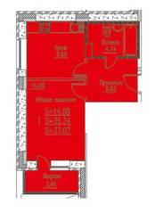 ЖК «Новые Клюшки», планировка 1-комнатной квартиры, 37.07 м²