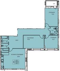 ЖК «Подрезково», планировка 3-комнатной квартиры, 106.10 м²