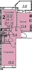 ЖК «Подрезково», планировка 2-комнатной квартиры, 57.30 м²