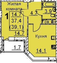 ЖК «Подрезково», планировка 1-комнатной квартиры, 39.10 м²