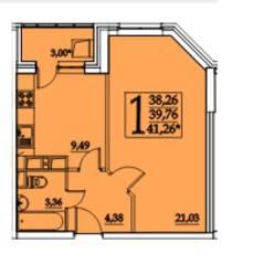 ЖК «Космическая гавань», планировка 1-комнатной квартиры, 41.26 м²