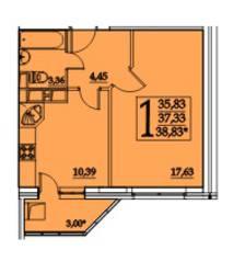 ЖК «Космическая гавань», планировка 1-комнатной квартиры, 38.83 м²