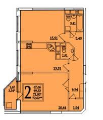 ЖК «Космическая гавань», планировка 2-комнатной квартиры, 71.00 м²
