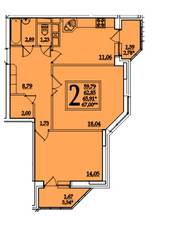 ЖК «Космическая гавань», планировка 2-комнатной квартиры, 65.91 м²